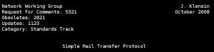 The header of RFC 5321, the document devoted to the SMTP protocol.