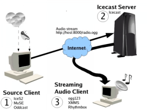 Figure 1: Streaming servers work as antenna towers for the signals you send them, broadcasting your streams to all the connected users.
