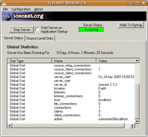 Figure 2: The main screen from Windows Icecast server, showing connection stats in realtime.