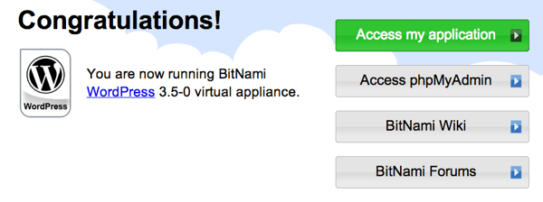 Bitnami Welcome Screen